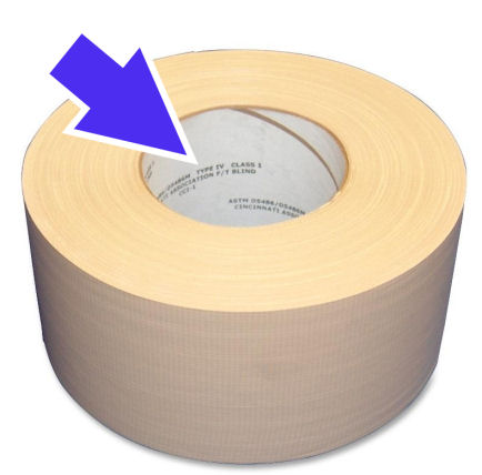 Industry practice is to label rolled goods on the interior of the core, not outside of the core.