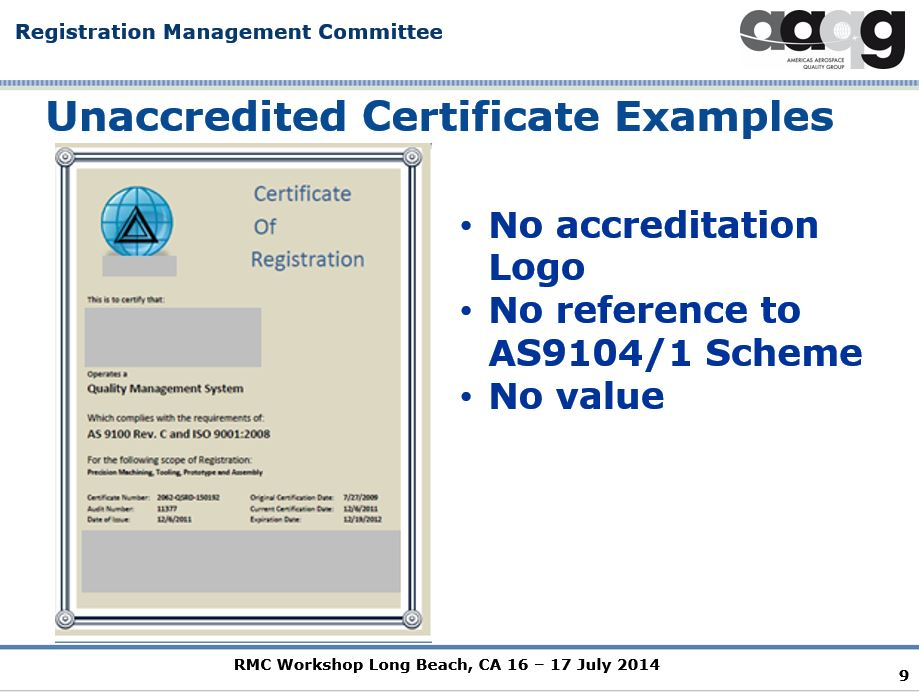 In 2014, IAQG's Tim Lee Called Unaccredited AS9100 Certs
