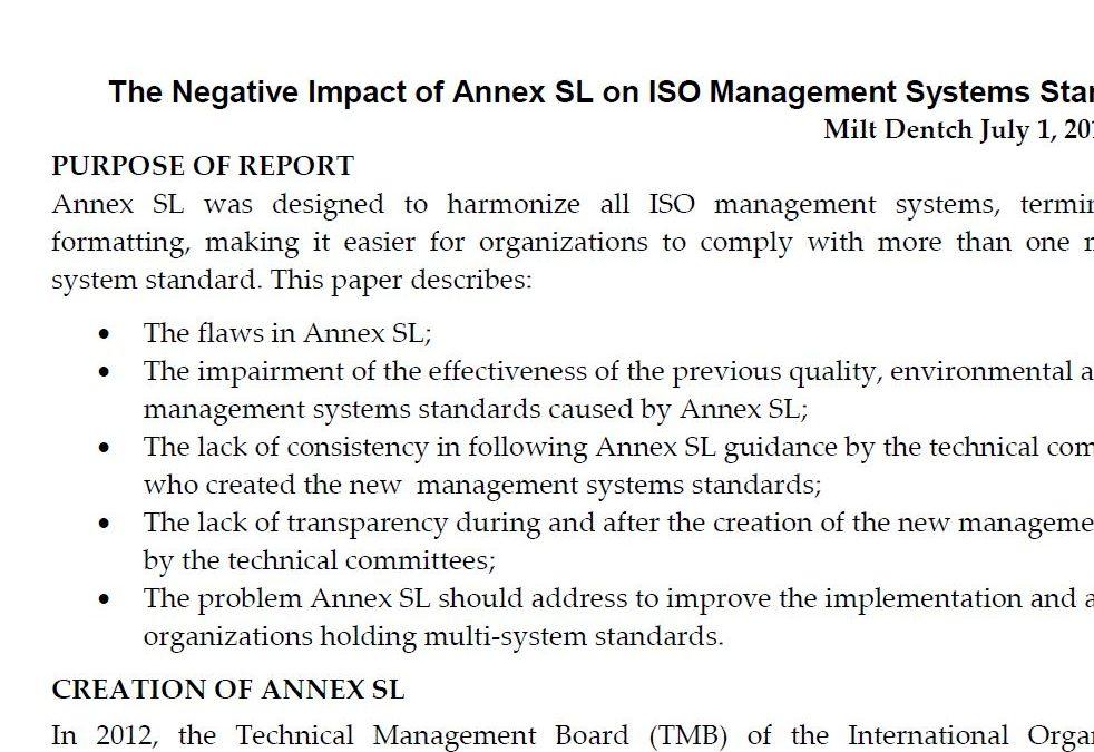 White Paper: The Negative Impact of Annex SL