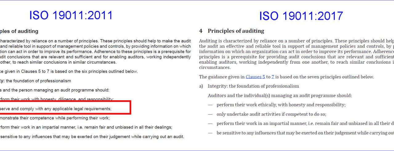 New ISO 19011 Standard Strips Requirement Directing Auditors to Comply with Laws