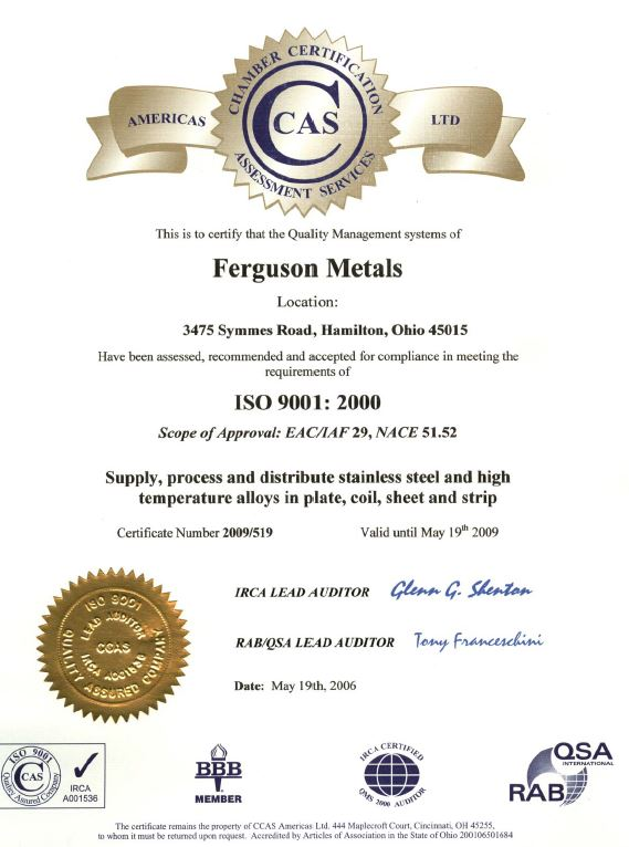 CCAS certificate