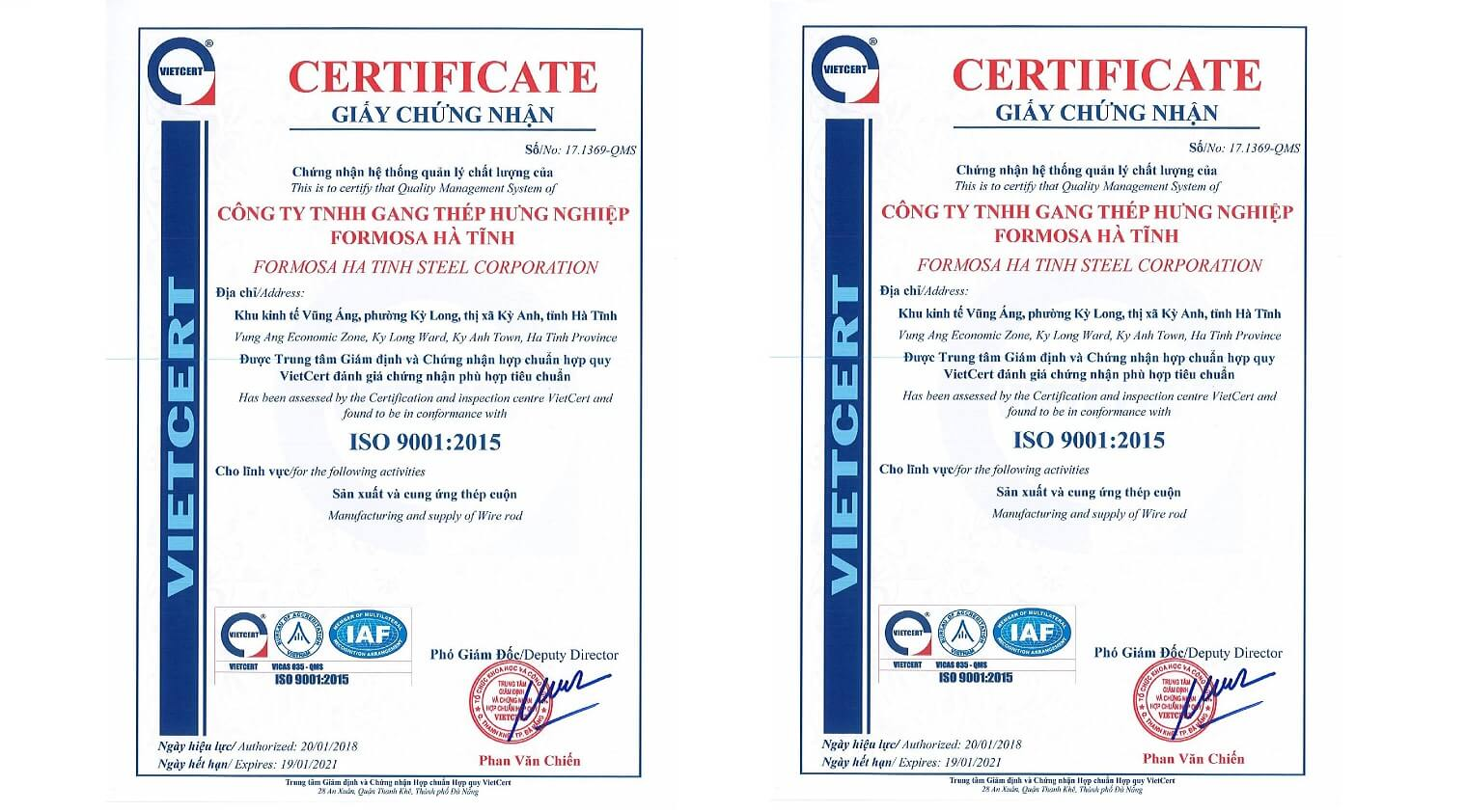 Formosa Ha Tinh Steel ISO 9001 certificate