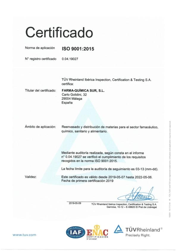 ISO 9001 certificate for Farma Quimica Sur