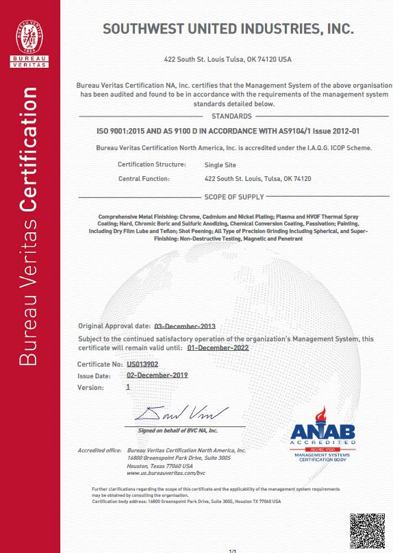 SUI AS9100 certificate
