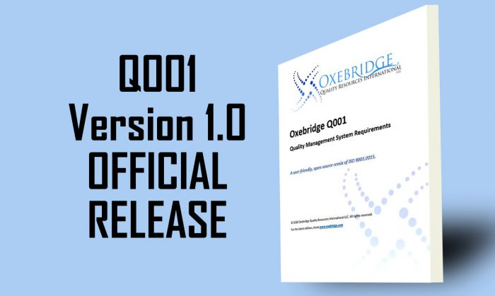 Oxebridge Releases Official Version 1.0 of Q001 Standard