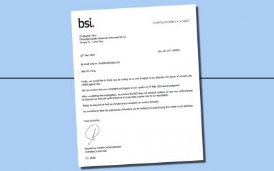 "In Anonymous Email, BSI Closes ""Nonconformity Quota"" Complaint, Ignores Evidence"