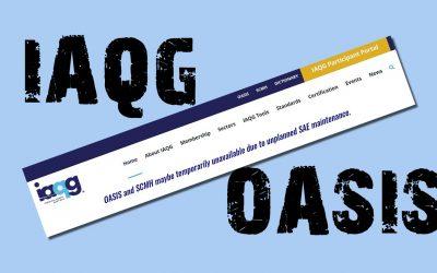 "IAQG OASIS Portal Down for ""Unplanned Maintenance"""
